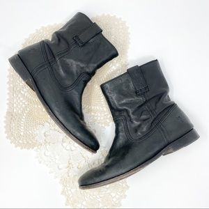 Frye | Black Leather Anna Shortie Ankle Bootie